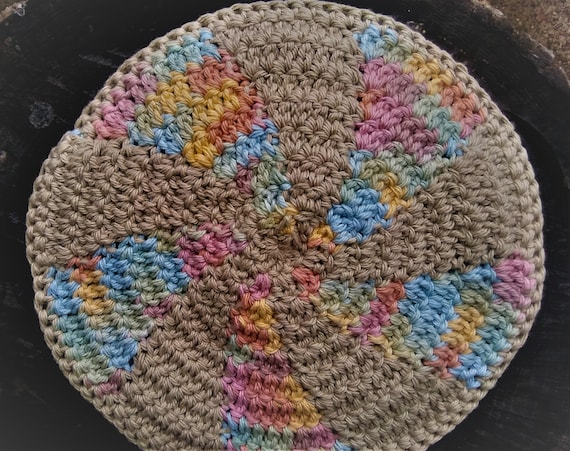 Colorful Cotton Crochet Hot Pad (Trivet, Pot Holder...etc)