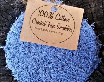 Set of 3 100% Cotton Crochet Face Scrubby