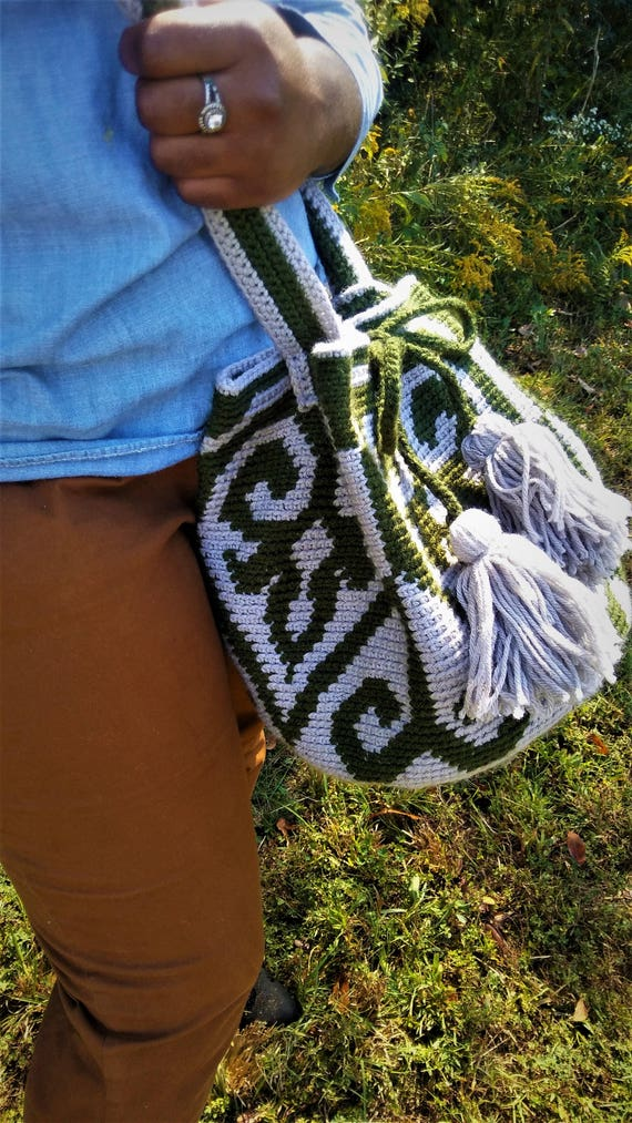 READY TO SHIP!!! Wayuu Tapestry Crochet Drawstring Handbag