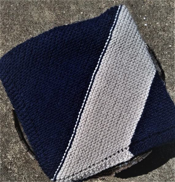 Blue and Cream Soft Wool Blend Knit Baby Blanket (Lovey, Stroller Blankey)