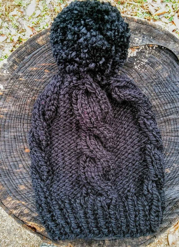 Chunky Black Cable Knit Beanie Pom Pom Hat (CHOOSE YOUR COLORS)