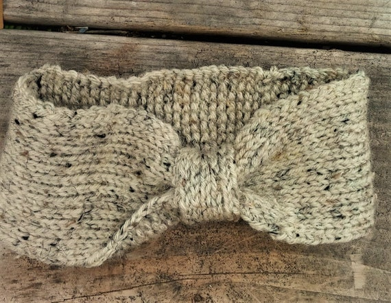 Cream Tweed Winter Earwarmer