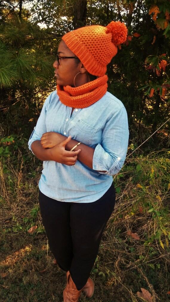 Autumn Orange Crochet Pom Pom Beanie and Infinity Scarf Set (CHOOSE YOUR COLORS)