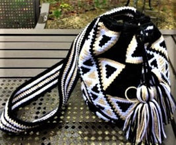 Neutral Triangles Tapestry Crochet Wayuu Bag With Drawstring