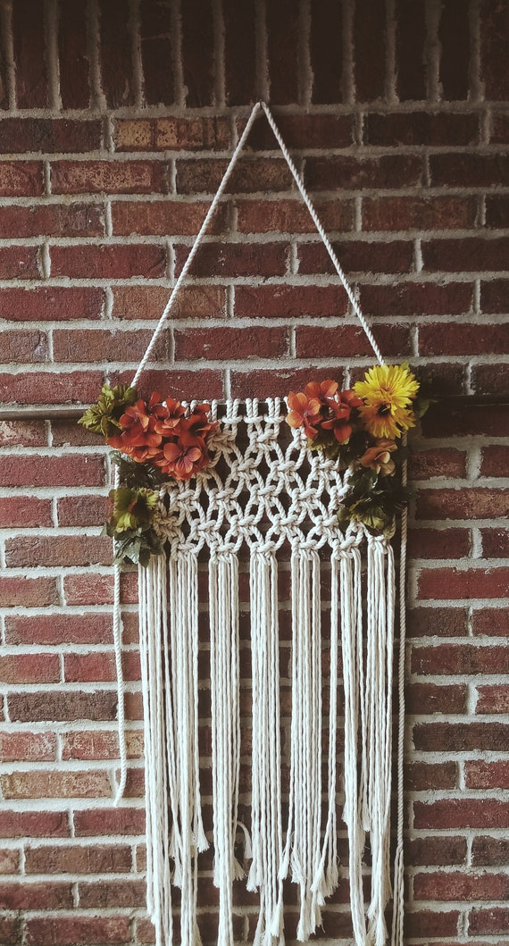 Large Macrame Wall Hanging with faux flowers
