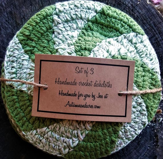 Set of 3 Green Apple Cotton Crochet Shaker Dishcloths