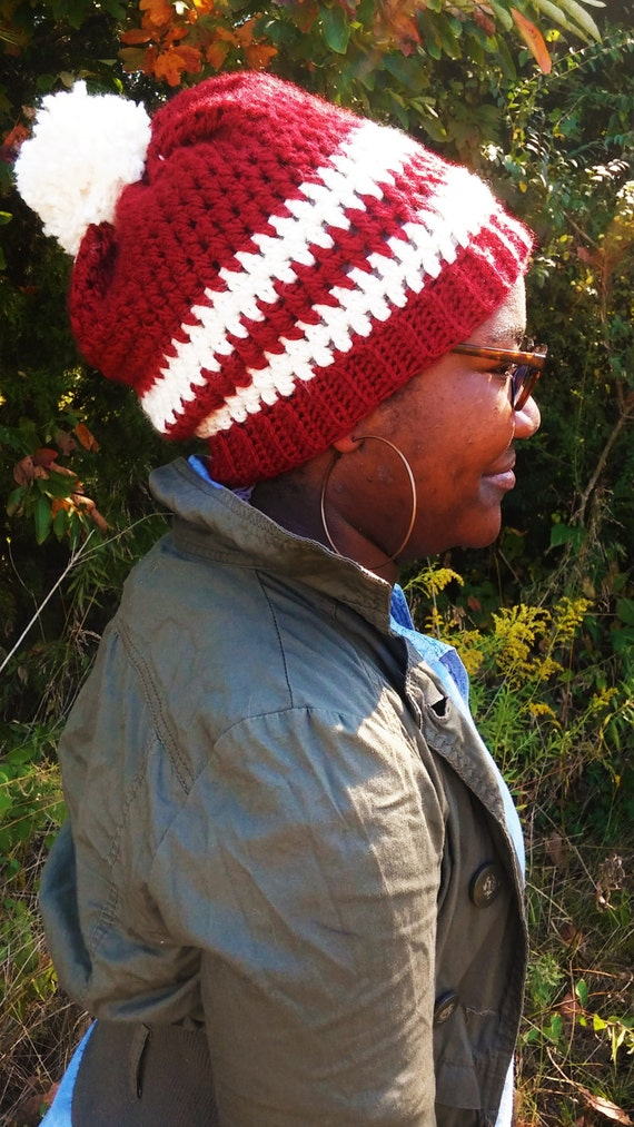 Red and Cream Chunky pom pom beanie (CHOOSE YOUR COLORS)