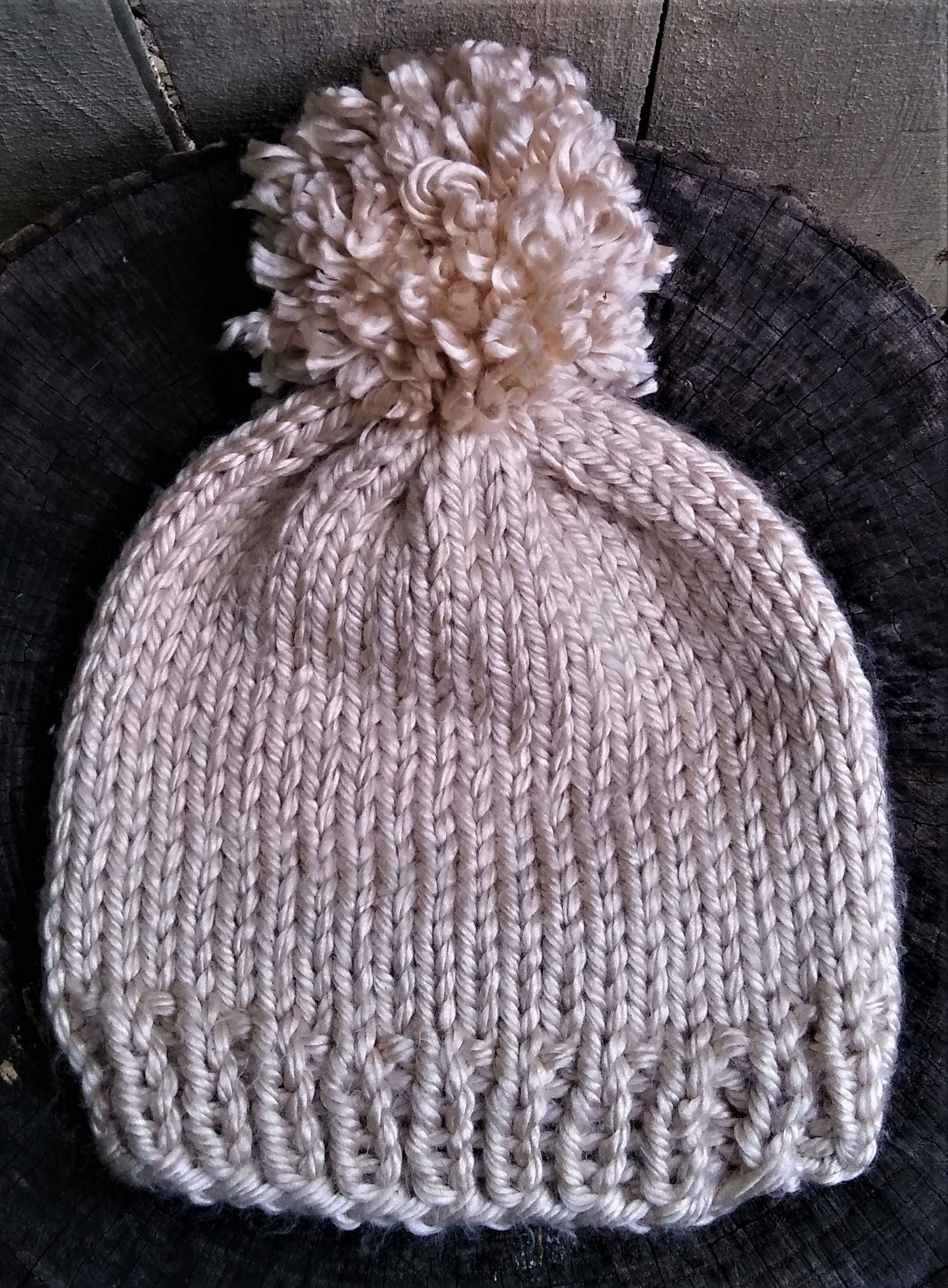 5be211bd77f Cream Chunky Knit Pom Pom Hat (CHOOSE YOUR COLORS)