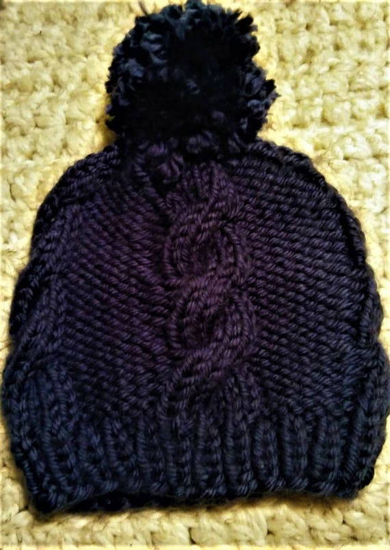 Soft Navy Blue Cable Knit Pom Pom Beanie