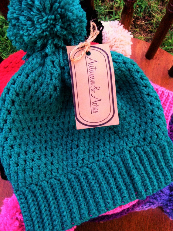 Dark teal Crochet Beanie hat with pom pom (CHOOSE YOUR COLOR)
