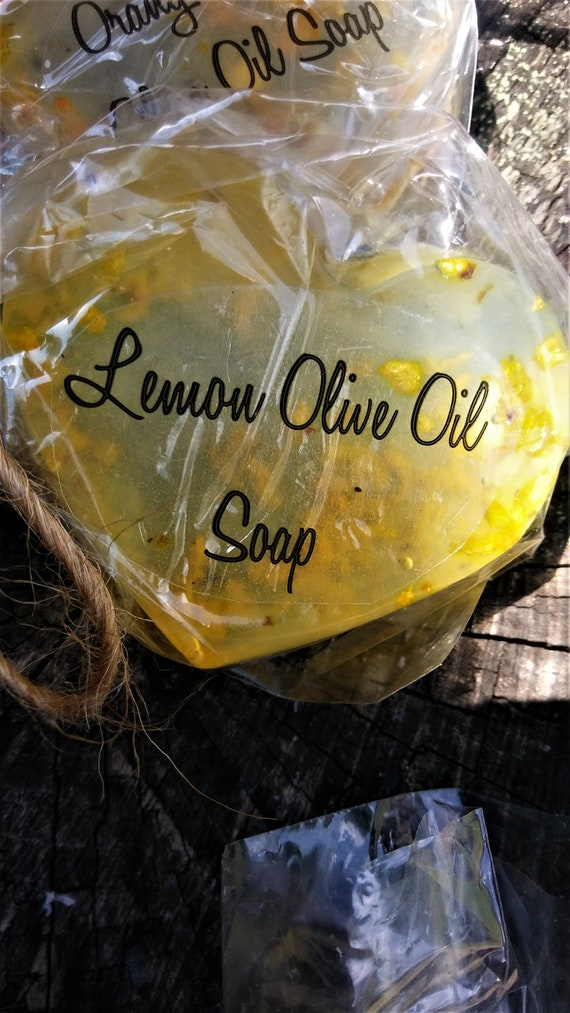 Set of 3!!! Lemon Essential Oil Olive Oil Clear Heart Soap