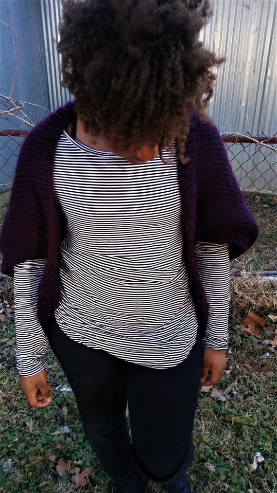 Womens Burgundy Chunky Knit Shrug Sweater (CHOOSE YOUR COLORS)