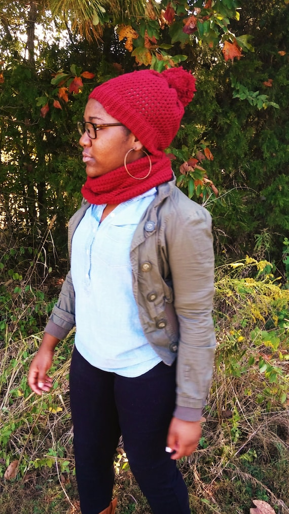 Autumn Red Crochet Pom Pom Beanie and Infinity Scarf Set (CHOOSE YOUR COLORS)