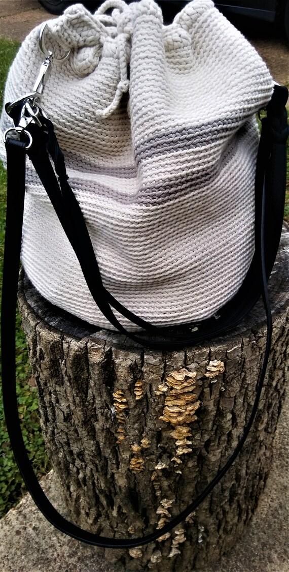 Cream and Clay Crochet Crossbody Wayuu Drawstring Handbag