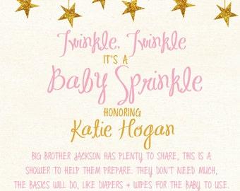 Printable, Custom Twinkle, Twinkle, Baby Sprinkle invitation - Digital file only.
