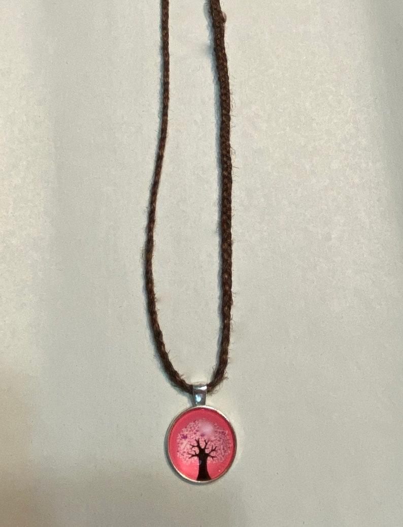 Breast Cancer Awareness Pink Ribbon Tree of Life Hemp Braided Necklace Pendant 18 Brown Hemp Hippie Bohemian Gypsy Zen beach surfer jewelry