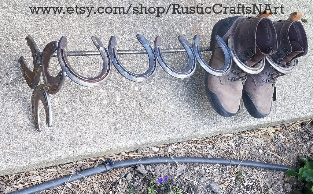 HorseChaussure  Boot  Rack -   Boot Reclaimed HorseChaussure s - Holds 3 Pairs - Cowboy Boot Rack - Mudroom Decor - Work Boot Rack - Boot Holder 8d713e