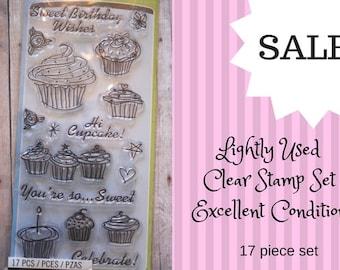 Cupcake Stamp Set/ clear stamp set/ cupcake stamp/ birthday stamp set/ birthday cupcake stamps/ birthday/ cupcake/ stamp/ stamp sale/ cake