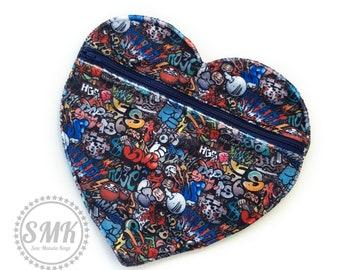 Heart wet bag, medium size, wet bag, snap closure, modern cloth storage,