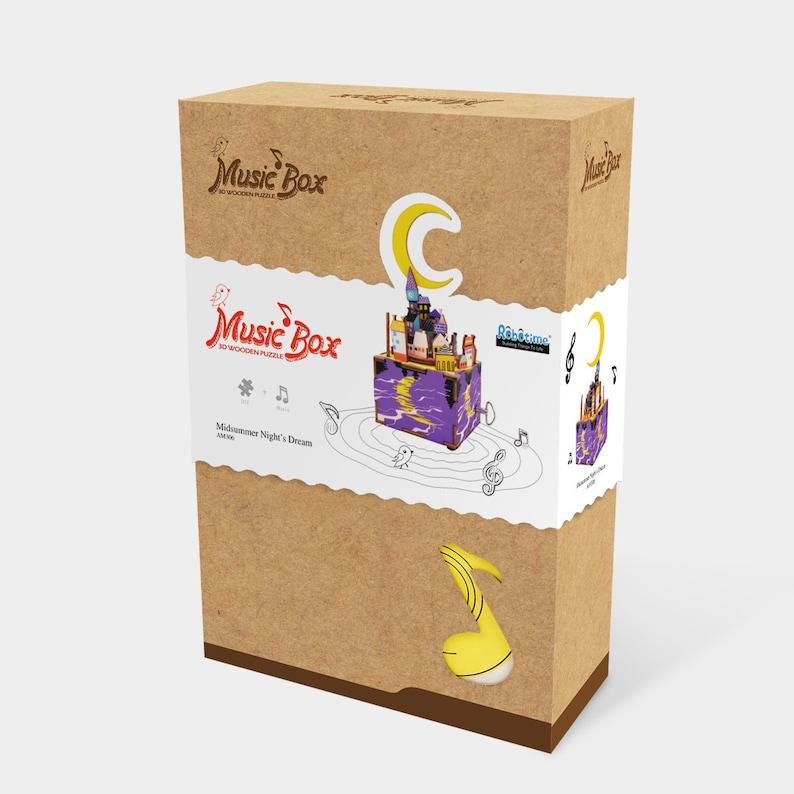 Machinarium Creative Gift Idea DIY Music Box Kit \u201cMidsummer Night\u2019s Dream\u201d 3D Wooden Puzzle Handcraft Kit Hand Crank Music Box