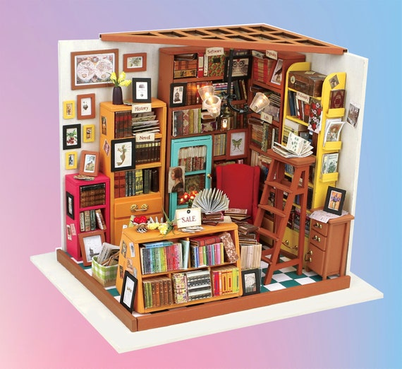 Diy Dollhouse Kit Miniature Dollhouse Craft Kit Study Room Etsy