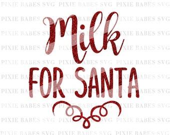 Milk for Santa SVG, Christmas svg, SVG files, Snowflake svg, Holiday SVG, svg cuttables, Cricut svg, Silhouette svg, svg Cutting Files