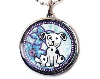 Blue Dog Reversible Pendant (Circle)