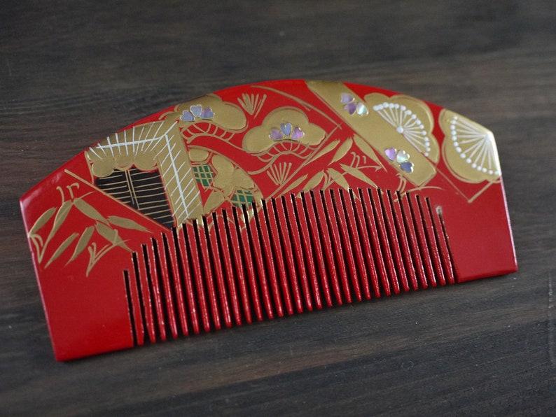 comb used hair accessory for kimono Kanzashi Shel L Decoration hair stick Raden Japanese Secondhand Kushi and Kanzashi set kushi