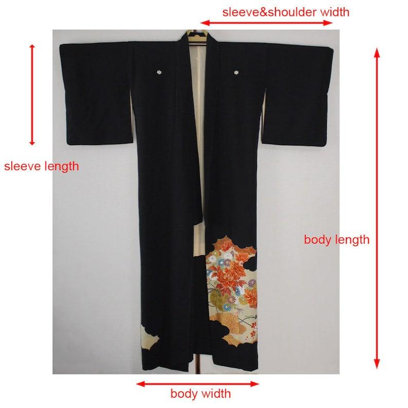 silk secondhand kimono peony black tomesode kuro-tomesode Japanese vintage formal kimono