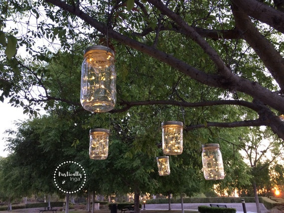Fairy light hanging mason jar light firefly light wedding fairy light hanging mason jar light firefly light wedding light outdoor lighting rustic lighting string lighting from rusticallyinga on etsy aloadofball Image collections