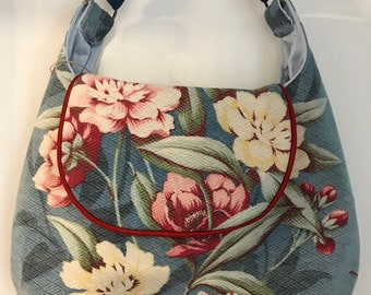 Handmade Vintage 1940s Barkcloth Hobo/Shoulder Handbag