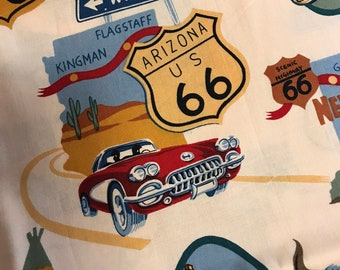 """One and one half yards """"Route 66"""" novelty fabric:  """"route 66"""" The Alexander Henry Fabrics Collection 2002"""