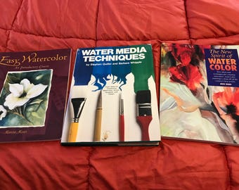 Three Preowned Watercolor Painting Books, Illustrations and guided practices