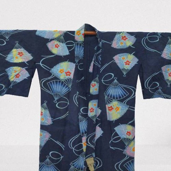 Vintage Japanese Kimono Paper Fan Art Design/ Cott