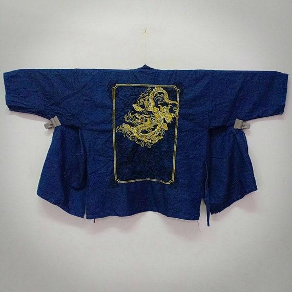 Vintage Haori Embroidered Dragon Art Design/ Cotto