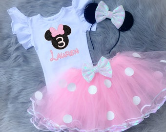 34ade4e594c Third Birthday Minnie Mouse Birthday Outfit