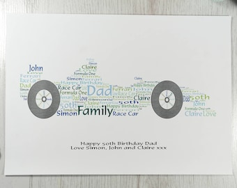 Personalised A4 Race Car Word Art Print Only or Digital Download | Birthday Gift | Father's Day | Anniversary Gift