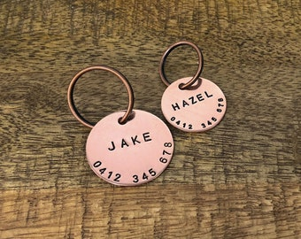 Personalised Copper Dog Tag   Hand Stamped Pet ID   Dog Collar Name Tag   Custom Dog Tag   Dog ID Tag   Dog Jewellery   Red Dog ID Tag  