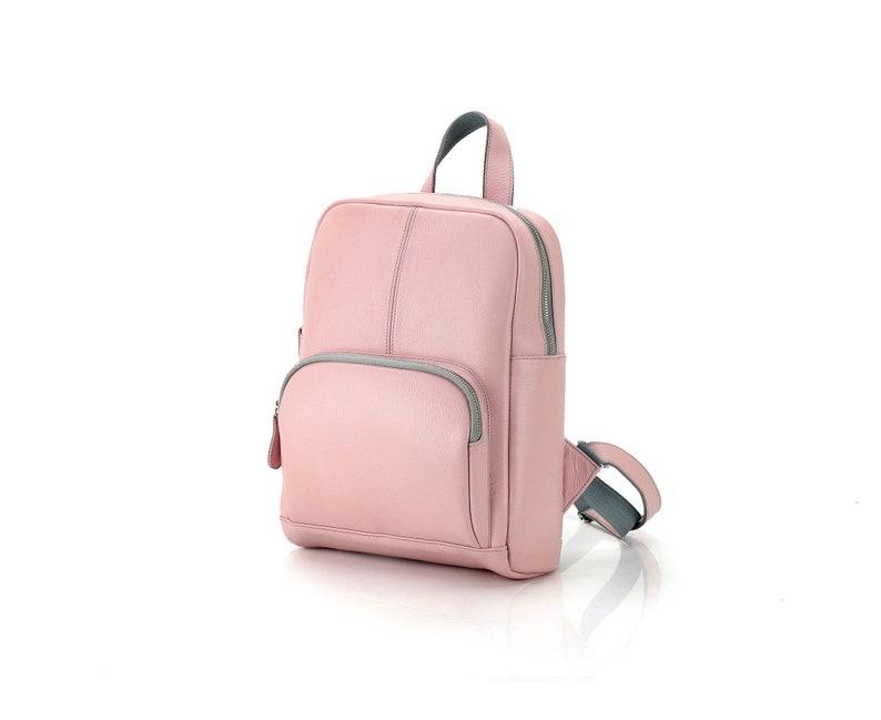 043dae21b6e40 Pastell rosa Leder Rucksack für sie   Damen Rucksack Rose