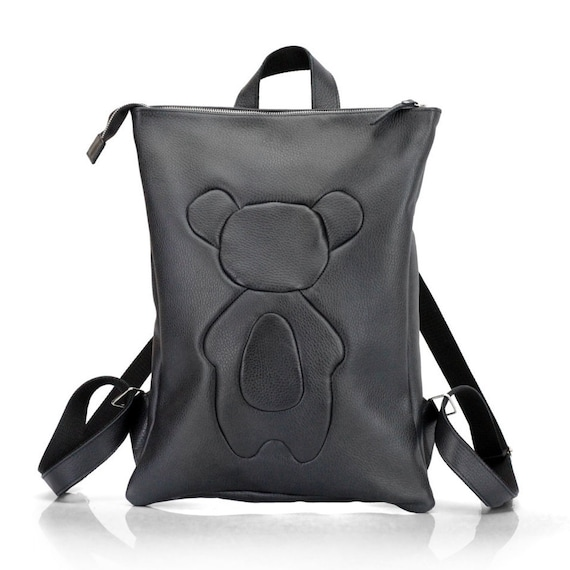 ae02c5656b7d Black Leather Backpack with Applique Bear Cub Laptop