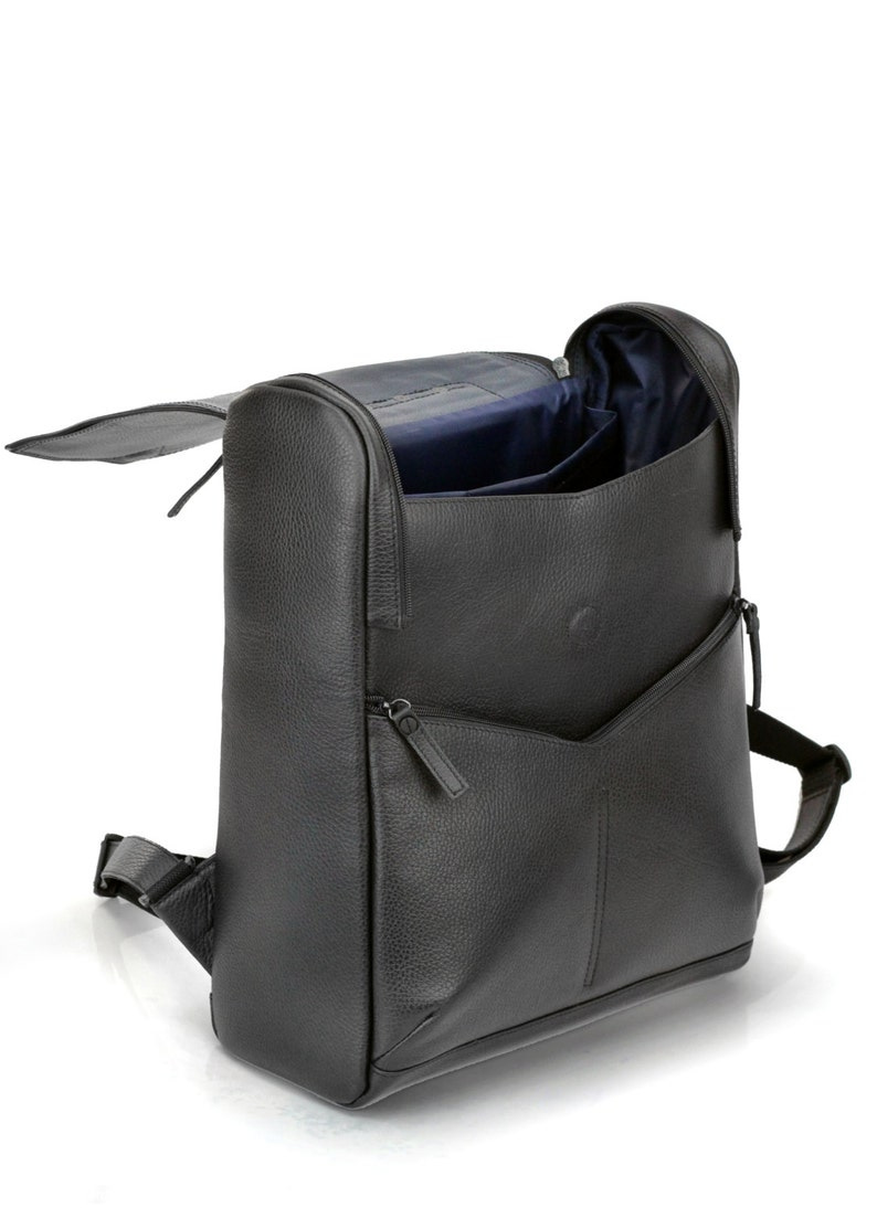 Rigorous Futuristic Conceptual Bag Large Backpack for laptop Black Leather Backpack for Men