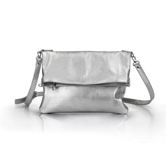 6ea43c441 Silver clutch bag Silver Leather Crossbody Clutch Bag | Etsy