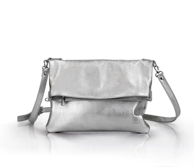 992ea5487b502 Silber Handtasche Silber Leder Crossbody Tasche Damen