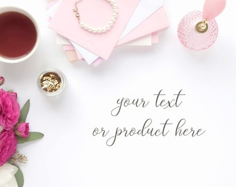 Download Free Styled stock photography (desk scene - pink & gold,white space for text or product) - for blogs/businesses, for printables, mock-ups PSD Template