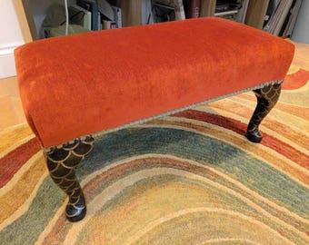 Bespoke terracotta velvet footstool