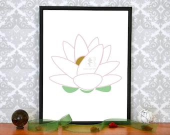 Minimalist Lotus Art Print, Digital/Printable/Downloadable, White Lotus Art, Wall Art, 8 x10