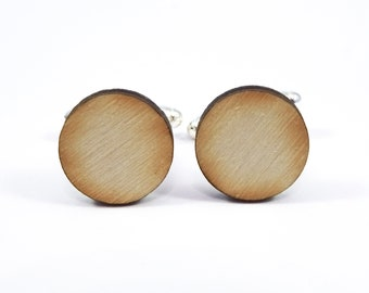 Wooden Circle Cufflinks, Laser Cut Wood Cufflinks, Wooden Cufflinks