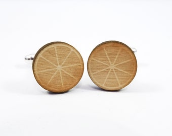 Wooden Fruit Slice Cufflinks, Laser Cut Wood Cufflinks, Wooden Cufflinks