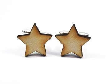 Wooden Star Cufflinks, Laser Cut Wood Cufflinks, Wooden Cufflinks