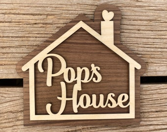 Pop's House Sign for Your Pop - Fathers Day Gift - Father Grandfather Gift - A sign your Pop will love